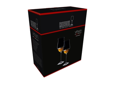 An unfilled RIEDEL Vinum Cognac Hennessy glass with product dimensions on white background