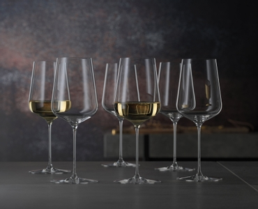 6 SPIEGELAU Definition Universal glasses stand slightly offset side by side on white background.