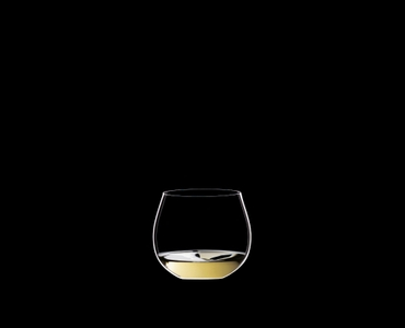 RIEDEL Restaurant O Oaked Chardonnay filled with a drink on a black background