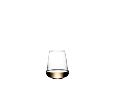 SL RIEDEL Stemless Wings Riesling/Champagne Glasses filled with white wine on white background