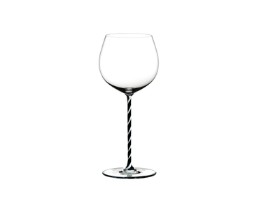 RIEDEL Fatto A Mano Oaked Chardonnay Black & White R.Q. on a white background