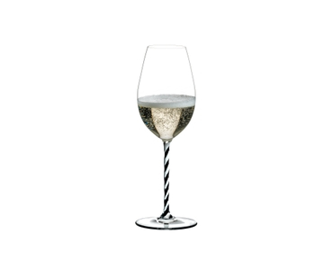 RIEDEL Fatto A Mano Champagne Wine Glass Black & White R.Q. filled with a drink on a white background
