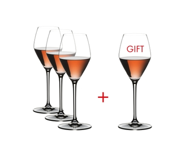 RIEDEL Extreme Rosé / Champagne Glass filled with a drink on a white background