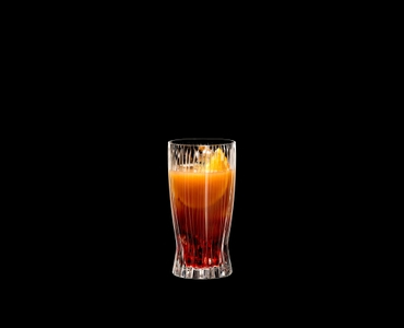 RIEDEL Tumbler Collection Fire Long Drink filled with a drink on a black background