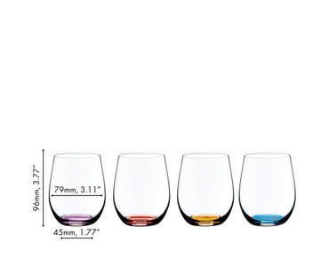 4 RIEDEL O Wine Tumbler Happy O Vol. 2 with colored bases in orange, violet, cyan and amber. An Easter nest behind it.