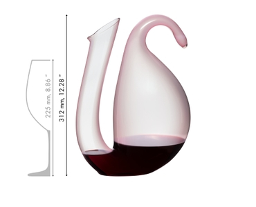 Empty RIEDEL Decanter Ayam Rosa on white background with product dimensions