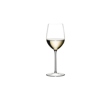 RIEDEL Sommeliers Mature Bordeaux/Chablis/Chardonnay glass filled with white wine on white background