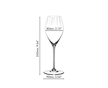 7 glasses of the RIEDEL Performance range filled with white wine, red wine and champagne on grey background. The glasses are divided into 2 groups: white wine and champagne glasses on the left, red wine glasses on the right.