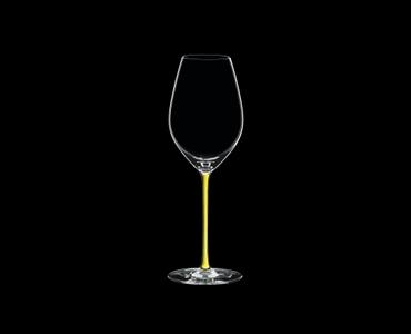RIEDEL Fatto A Mano Champagne Wine Glass Yellow R.Q. on a black background