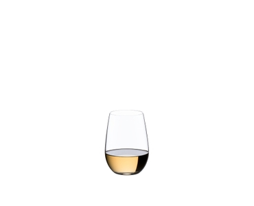 A woman's hand holds a white wine filled RIEDEL O Wine Tumbler Riesling/Sauvignon Blanc glass she has placed on her thigh.