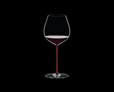 RIEDEL Fatto A Mano Pinot Noir Red filled with a drink on a black background