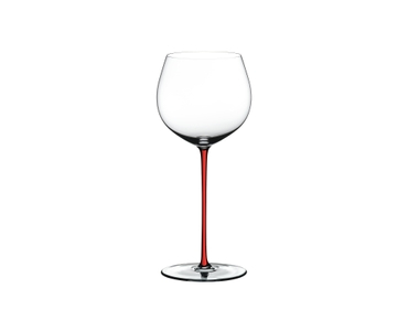 RIEDEL Fatto A Mano R.Q. Oaked Chardonnay Red on a white background