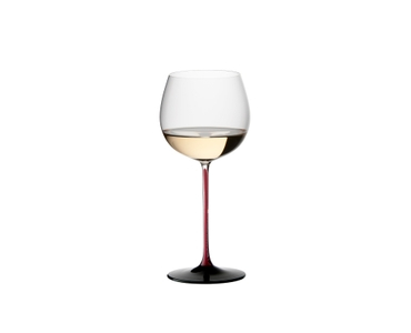 RIEDEL Black Series Collector's Edition Montrachet filled with a drink on a white background