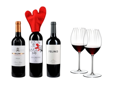 3 different closed bottles of red wine side by side and next to 2 red wine filled RIEDEL Performance Syrah/Shiraz glasses on white background.