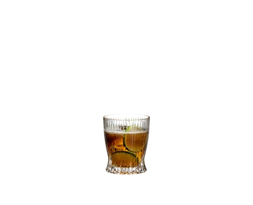 RIEDEL Tumbler Collection Fire Whisky Set - 2 Whisky Tumbler + Decanter filled with a drink on a white background