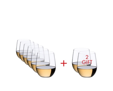 Six RIEDEL O Wine Tumbler Viognier/Chardonnay are slightly offset one behind the other on the right and two glasses on the left. A red plus sign is placed between the glasses. All 8 RIEDEL O Wine Tumbler Viognier/Chardonnay are filled with white wine.