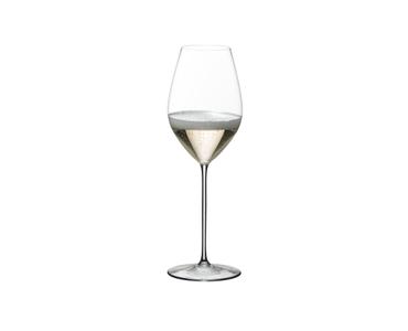 Champagne filled RIEDEL Superleggero Champagne Wine Glass on white background