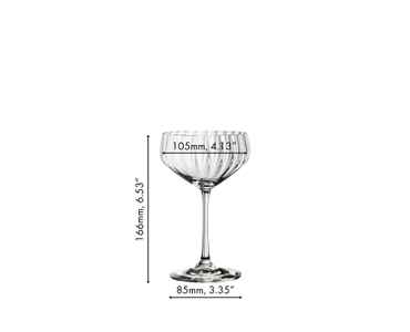 An unfilled SPIEGELAU Lifestyle Coupette on white background with product dimensions