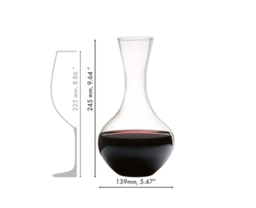 Set table with a RIEDEL Syrah decanter, Vinum Cabernet and Vinum Riesling glasses and water filled O Wine Tumblers.