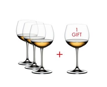 RIEDEL Vinum XL Chardonnay (im Fass gereift) gefüllt mit einem Getränk auf weißem Hintergrund