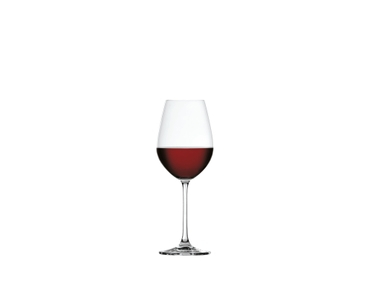 SPIEGELAU Salute Red Wine filled with a drink on a white background