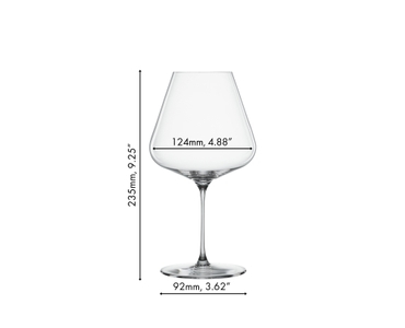 Two unfilled SPIEGELAU Definition Burgundy glasses side by side on white background