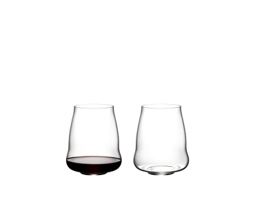 Three filled SL RIEDEL Stemless Wings tumblers (f.l.t.r. Cabernet Sauvignon, Pinot Noir and Riesling/Champagne) side by side.