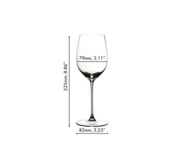 Unfilled RIEDEL Veritas Viognier/Chardonnay glass with dimensions on white background with product dimensions