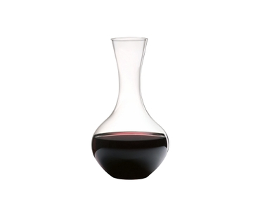 RIEDEL Decanter Syrah filled with a drink on a white background