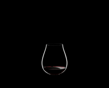 RIEDEL Restaurant O Pinot Noir filled with a drink on a black background