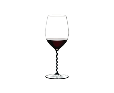 RIEDEL Fatto A Mano Cabernet/Merlot Black & White filled with a drink on a white background
