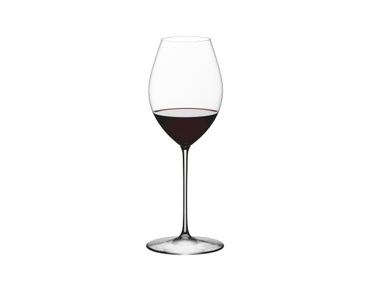 RIEDEL Superleggero Hermitage/Syrah filled with a drink on a white background