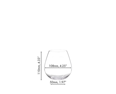 An unfilled RIEDEL O Wine Tumbler Pinot/Nebbiolo on white background with product dimensions