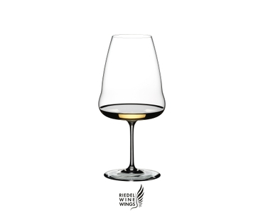 RIEDEL Winewings Riesling filled with a drink on a white background