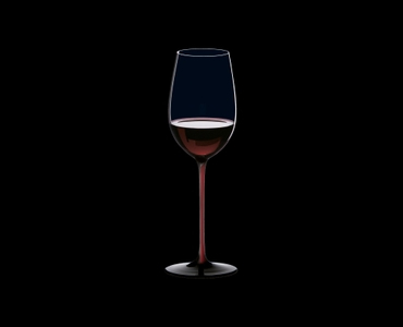 RIEDEL Black Series Collector's Edition Riesling Grand Cru filled with a drink on a black background