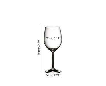 An unfilled RIEDEL Vinum Viognier/Chardonnay glass on white background with product dimensions
