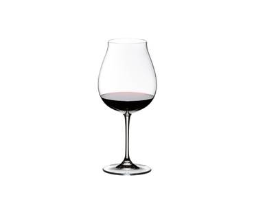 RIEDEL Vinum New World Pinot Noir Set filled with a drink on a white background