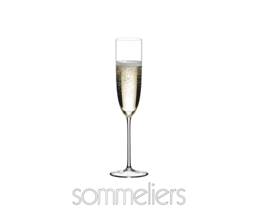 RIEDEL Sommeliers Champagne Glass filled with a drink on a white background