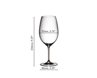 A RIEDEL Vinum Syrah/Shiraz/Tempranillo glass filled with red wine on white background