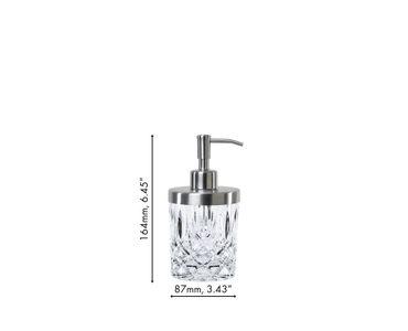 An unfilled NACHTMANN Noblesse Spa Dispenser on white background with product dimensions