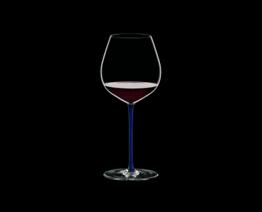 RIEDEL Fatto A Mano Pinot Noir Dark Blue R.Q. filled with a drink on a black background