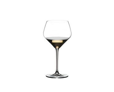 RIEDEL Heart To Heart Oaked Chardonnay filled with a drink on a white background