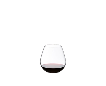 A RIEDEL O Wine Tumbler Pinot/Nebbiolo filled with red wine on white background