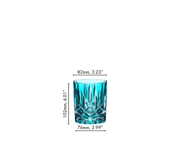 An unfilled RIEDEL Laudon Turquoise tumbler on white background with product dimensions