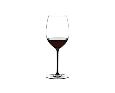 RIEDEL Fatto A Mano Cabernet/Merlot Black R.Q. filled with a drink on a white background