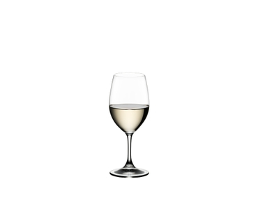 RIEDEL Ouverture White Wine filled with a drink on a white background