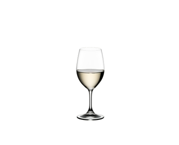 RIEDEL Ouverture Restaurant White Wine filled with a drink on a white background