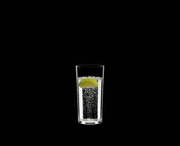 RIEDEL Manhattan Highball filled with a drink on a black background