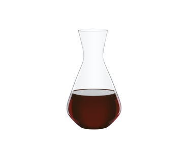 SPIEGELAU Decanter Casual Entertaining 1.4l filled with a drink on a white background