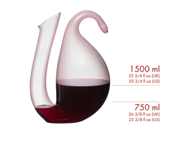 RIEDEL Decanter Ayam Rosa filled with wine showing the pouring line for a standard bottle and a magnum bottle